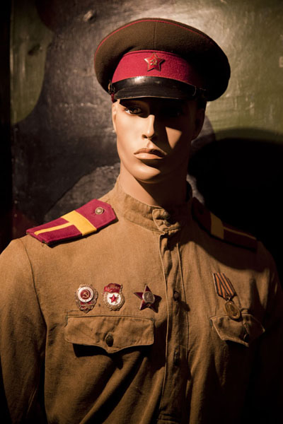 Picture of Soviet military uniform on display in the small museum