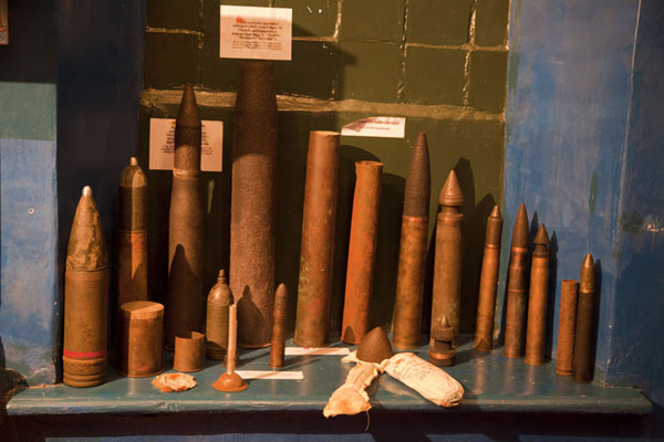 Picture of Ammunition from several wars on display in the small museum at the military prison of Karosta