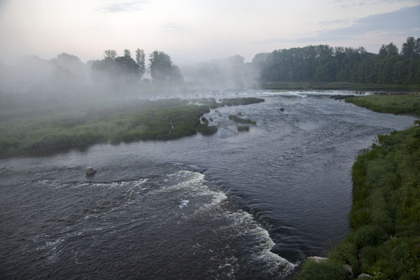 Fog over Venta River in the very early morning | Kuldīga Old Town | Latvia