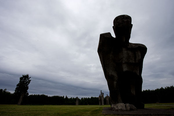 Foto van One of the statues, The Unbroken, on the field of the camp with statuesSalaspils - Letland