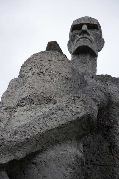 Looking up one of the statues of the Solidarity group | Salaspils concentration camp | Latvia