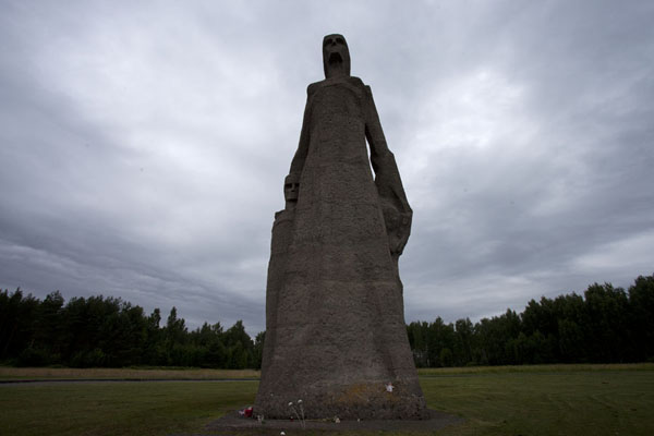 Picture of Salaspils concentration camp (Latvia): Looking up the Mother, one of the statues of the concentration camp