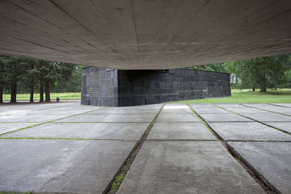 Picture of Salaspils concentration camp (Latvia): The concrete entrance with the number of people who perished in the camp