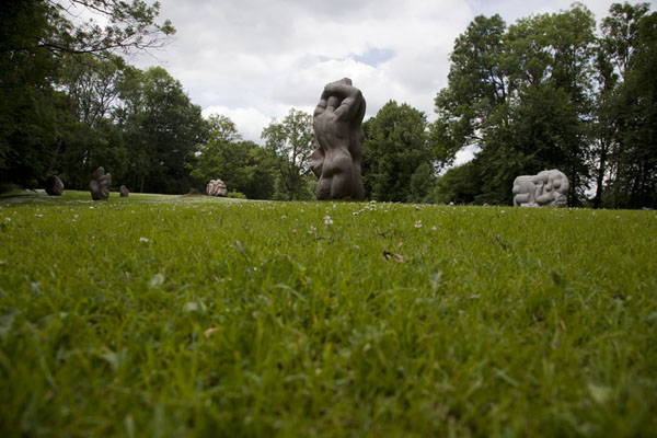 Foto di View of some of the sculptures on Daina Hill, the sculpture garden of Turaida CastleSigulda - Lettonia