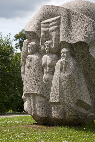 Sculpture with Latvian heroes appearing in local folk songs in the sculpture garden of Turaida Castle | Turaida Castle | Latvia