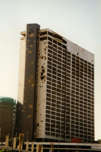 Foto di Tall apartment block destroyed in the Lebanese warBeirut - Libano