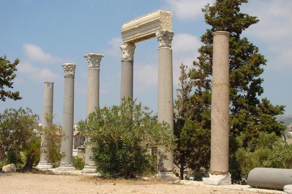 Picture of Roman pillars leading up to the temple of Balaat GebalByblos - Lebanon