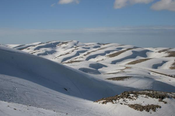 Photo de Snowy and stony hills at Faraya MzaarFaraya Mzaar - Liban