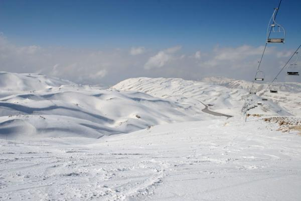 Picture of Faraya Mzaar ski area: looking down on some of the snowy hills