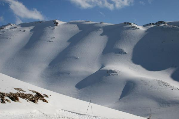 Snow and shadow play on the hills of Faraya Mzaar ski area | Faraya Mzaar Skiing | Lebanon