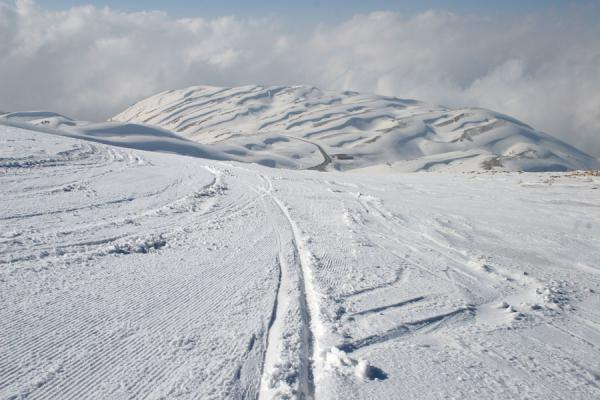 Photo de Looking down one of the slopes of Faraya Mzaar ski areaFaraya Mzaar - Liban