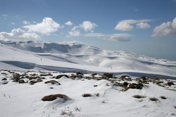 Picture of Snow covered mountains under blue sky dotted with some cloudsFaraya Mzaar - Lebanon