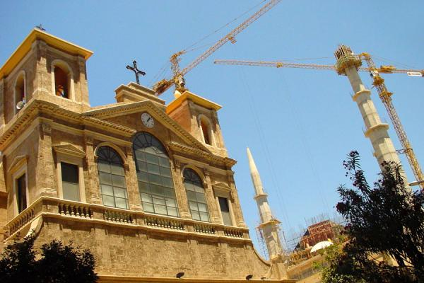 Picture of New Beyrut (Lebanon): Mosque under reconstruction and church in Central District, Beirut