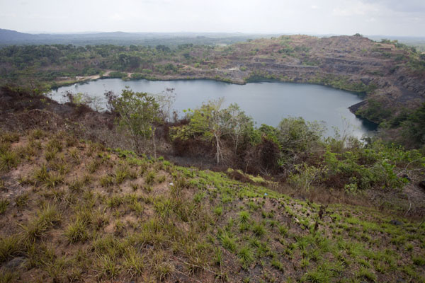 View of Blue Lake from top of the highest mountain to the south | Lago Blu di Bomi | Liberia