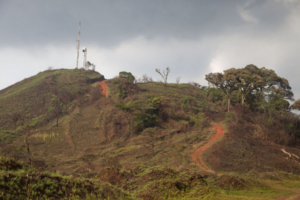 Dirt track leading up to a telecom tower on the Mount Nimba ridge | Mount Nimba Liberia | Liberia