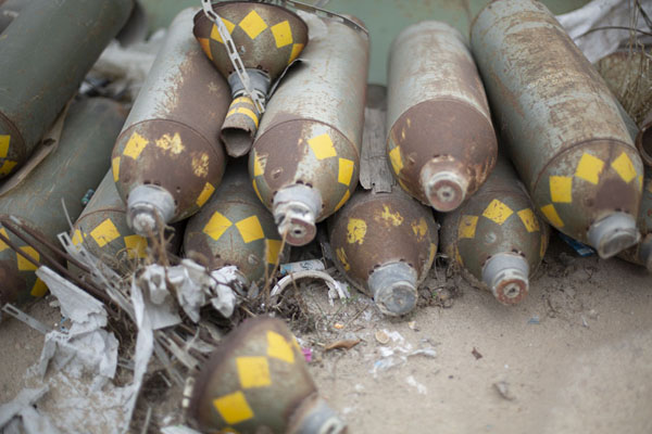 Close-up of weapons used in the 2011 war by the forces of Gaddafi | Misrata War Museum | Libya