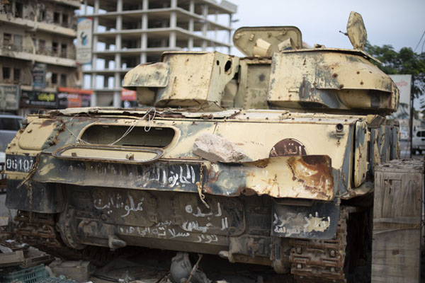 Foto van One of the tanks used by Gaddafi forces in the 2011 warMisrata - Libië