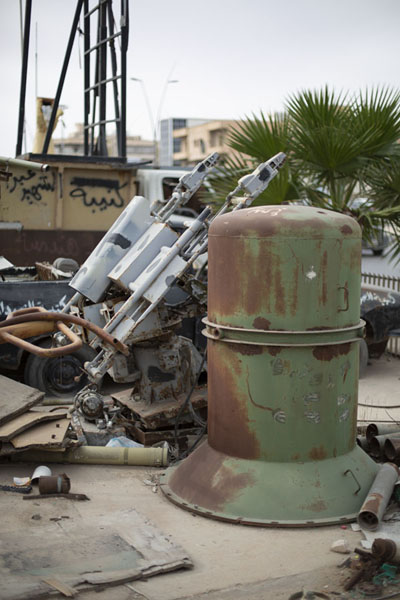 Picture of All kinds of weapons used by Gaddafi troops outside the war museum - Libya - Africa