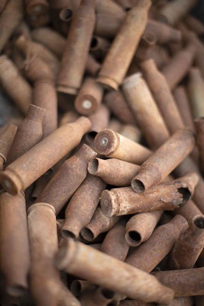 Collection of bullets used in the 2011 war in close-up | Misurata museo de la guerra | Libia