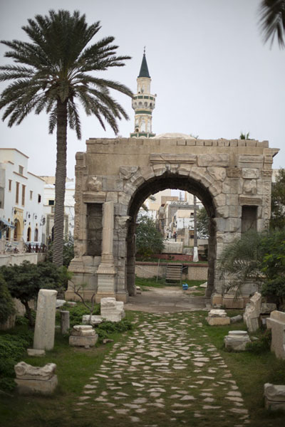 Picture of Old Tripoli (Libya): Arch of Marcus Aurelius with minaret behind: entrance to the old part of Tripoli
