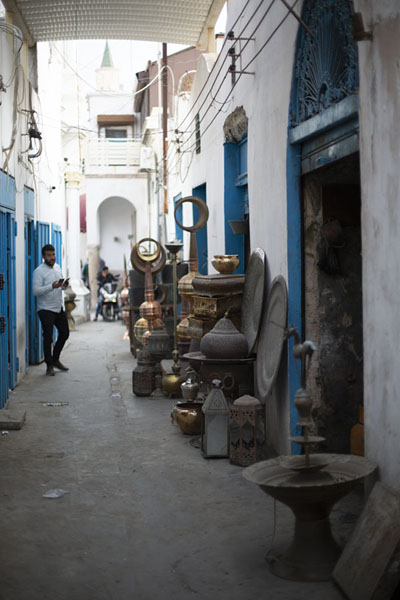 Street in Tripoli with ornaments for minarets for sale | Old Tripoli | Libya
