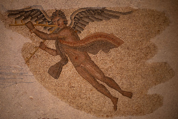 Angel depicted in the Four Seasons mosaic in Villa Selene | Villa Selene | Libye