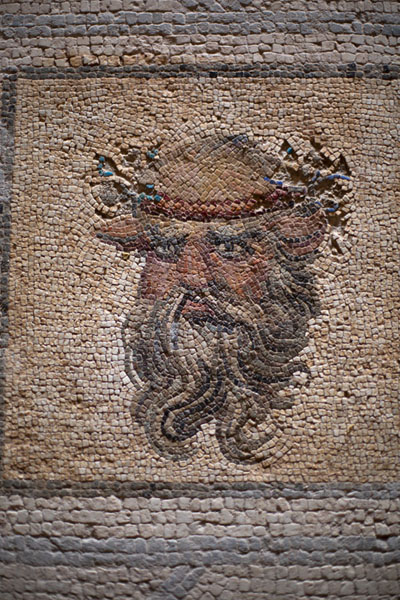Close-up of head, mosaic in Villa Selene | Villa Selene | Libya
