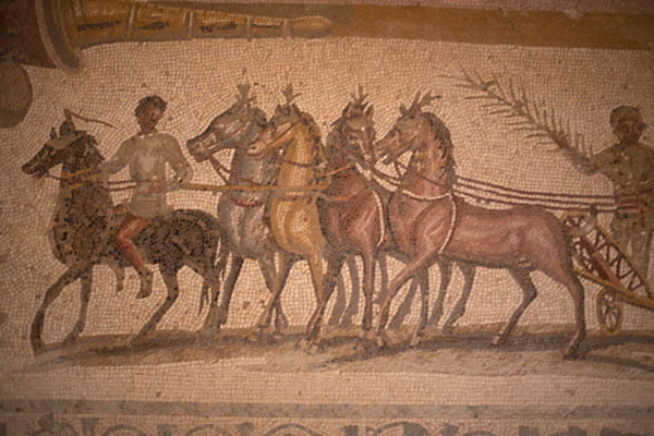 Detail of the hippodrome mosaic in Villa Selene | Villa Selene | Libye