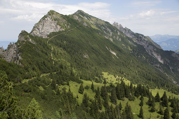 Picture of The mountain range with Gafleispitz and Kuhgrat seen from the other side of the valleyFürstensteig - Liechtenstein