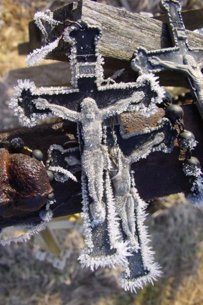 Frosty crucifix | Hill of Crosses | Lithuania