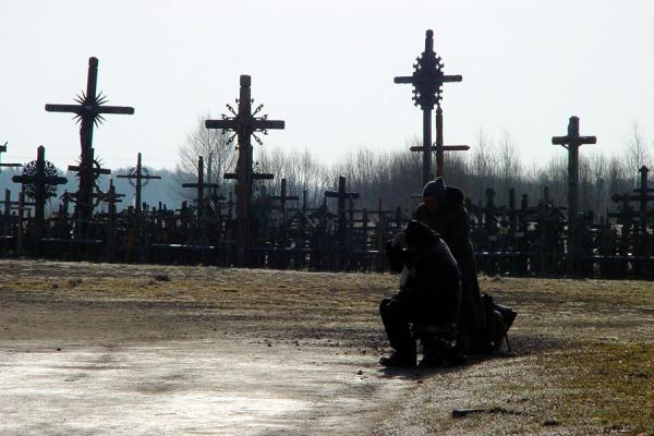Beggars getting ready for religious visitors | Hill of Crosses | Lithuania
