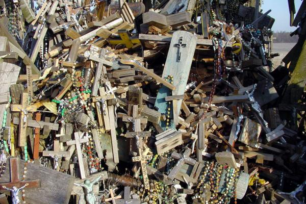 Picture of Hill of Crosses (Lithuania): Heap of small crosses at the Hill of Crosses