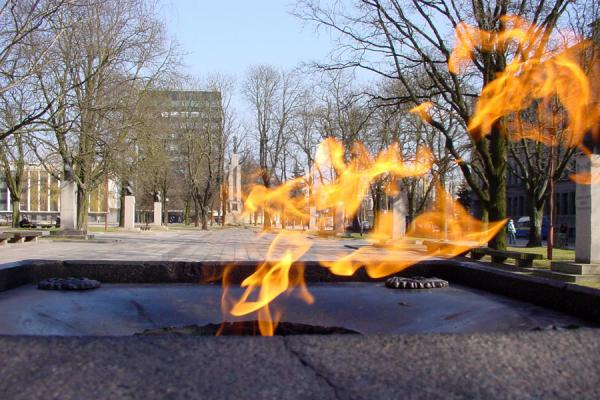 Eternal flame for independence, and the Freedom Monument in the background | Kaunas | Lithuania