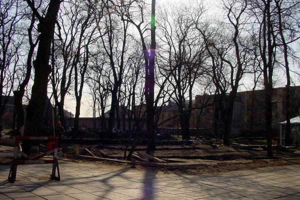 Picture of Romas Kalanta burnt himself to death on this square, and the monument is in the makingKaunas - Lithuania