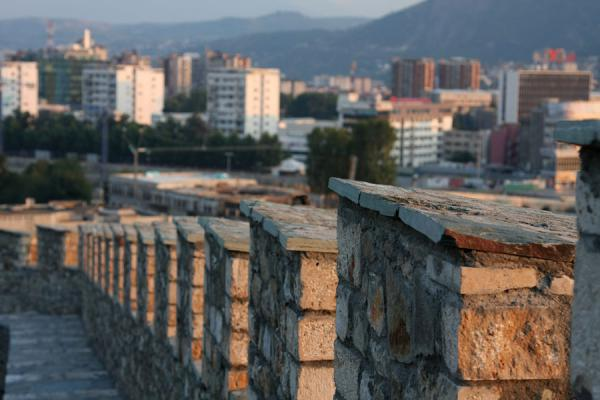 Modern Skopje seen behind the strong walls of the 6th century Tvrdina Kale | Skopje | Macedonia