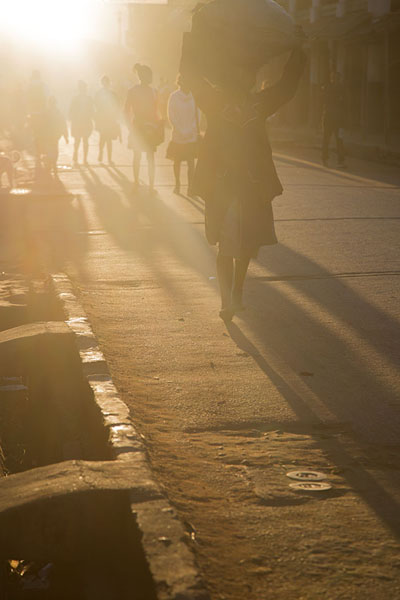 Foto di People walking the street in the early morningAmbalavao - Madagascar