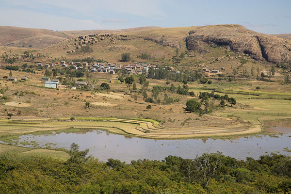 View of lake and mountains and the village of Anja | Anja | Madagascar