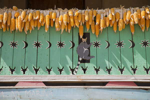 Picture of Lemurs and zebus carved out of a wooden balcony with maize