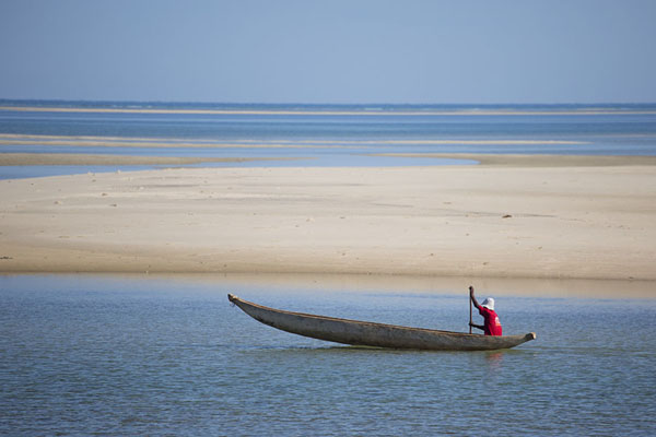 Fisherman paddling his pirogue to the open seaBelo sur Mer - 马达加斯加到