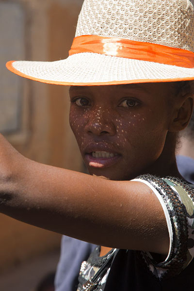 Picture of Young woman with hat at the market of Ankavandra - Madagascar - Africa