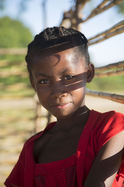 Picture of Afternoon sun on face of a young girl in Bekopaka - Madagascar - Africa