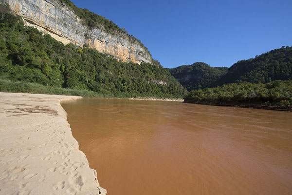 Picture of Manambolo river flowing past a sandbank and under steep cliffs