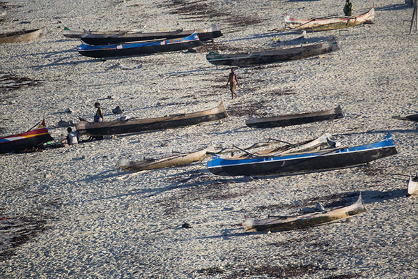 Foto de Close-up of pirogues lined up on the beach of SalarySalary - Madagascar