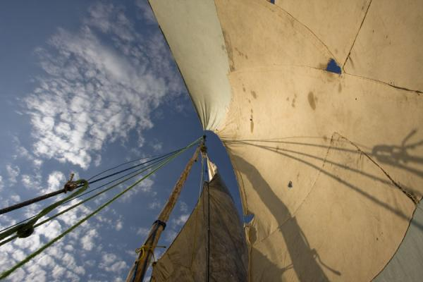Looking up the sail of the dhow to Chizumulu | Chizumulu Island | Malawi