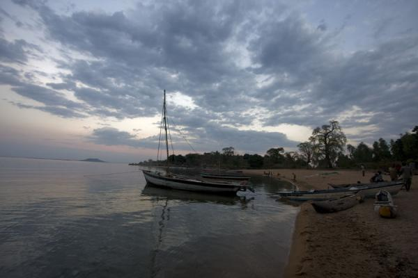 Picture of Chizumulu Island (Malawi): Early morning at Ulisa beach: dhow waiting to sail to Chizumulu Island