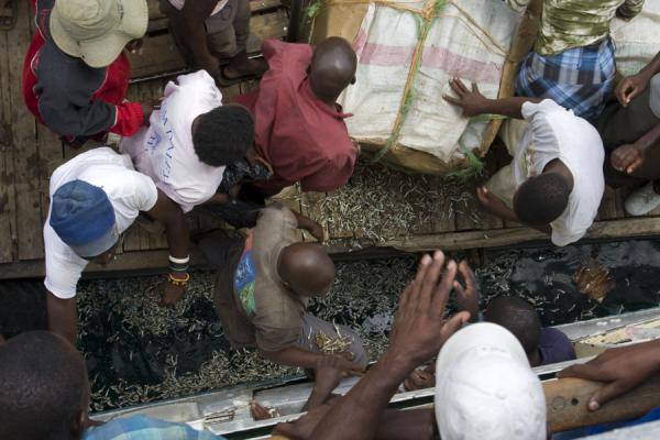Foto van One of the big boxes with small dried fish falls apart while unloading at Nkhata BayLake Malawi - Malawi