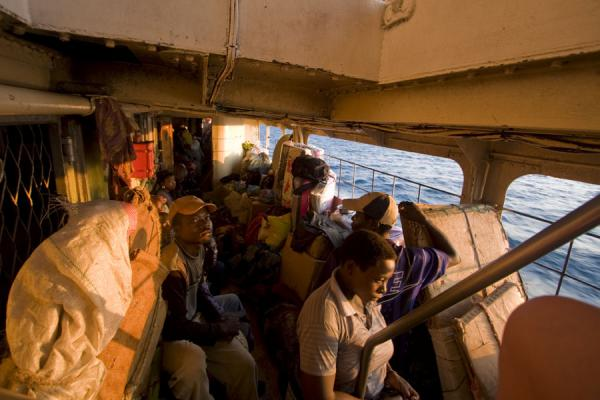 Foto van People in the lower deck of the MV Ilala, on Lake MalawiLake Malawi - Malawi