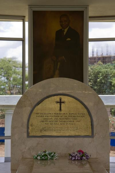 Picture of Kamuzu Banda Mausoleum (Malawi): Picture of Hastings Banda above his stand-in grave