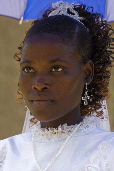 Bride at a wedding party on Chizumulu Island | Malawiani | Malawi