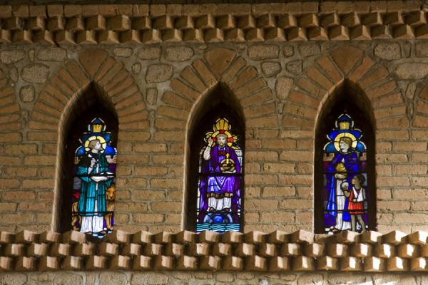 Picture of Saint Peter's Cathedral (Malawi): Narrow stained glass windows inside St. Peter's Cathedral